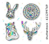 set of fashion animal patches... | Shutterstock .eps vector #611299769