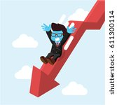 blue businessman slide down... | Shutterstock .eps vector #611300114