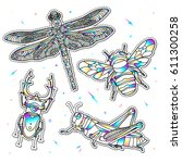 set of fashion insects patches... | Shutterstock .eps vector #611300258