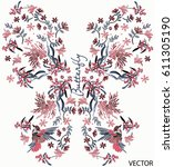 embroidery flower pattern in... | Shutterstock .eps vector #611305190