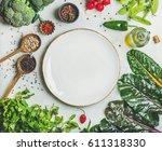 fresh raw greens  vegetables... | Shutterstock . vector #611318330
