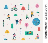 season background people character vector illustration flat design | Shutterstock vector #611319944