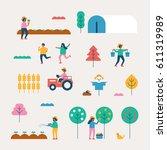 autumn season background people ... | Shutterstock .eps vector #611319989