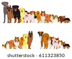 border of dogs arranged in... | Shutterstock .eps vector #611323850
