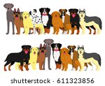 border of large dogs set  | Shutterstock .eps vector #611323856