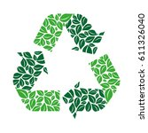 green recycling symbol with... | Shutterstock .eps vector #611326040