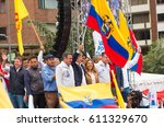 Small photo of Quito, Ecuador - March 26, 2017: Guillermo Lasso, presidential candidate of CREO SUMA alliance with his binomial Andres Paez, during campaign rally for second round election