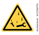 vector yellow triangle safety... | Shutterstock .eps vector #611336576