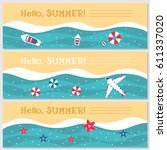 doodle summer banners set. ... | Shutterstock .eps vector #611337020