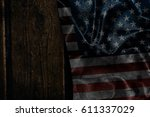 usa flag on a wood surface | Shutterstock . vector #611337029