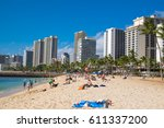 honolulu  oahu  hawaii  ... | Shutterstock . vector #611337200
