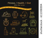 weight loss  diet icons set....   Shutterstock .eps vector #611338304