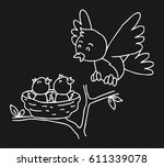 mother bird and her son   Shutterstock .eps vector #611339078