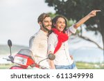 portrait of happy young love... | Shutterstock . vector #611349998