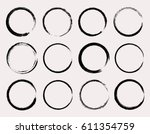 set of grunge circles.vector... | Shutterstock .eps vector #611354759