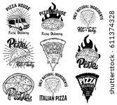 pizza labels. design elements... | Shutterstock .eps vector #611374328