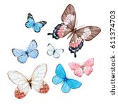 Stock photo a watercolor set of flying butterflies 611374703