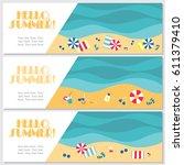 doodle summer banners set. ... | Shutterstock .eps vector #611379410