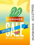 summer sale banner design... | Shutterstock .eps vector #611379950