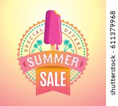 summer sale banner design... | Shutterstock .eps vector #611379968