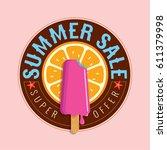 summer sale banner design... | Shutterstock .eps vector #611379998
