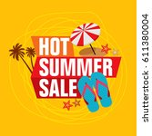 summer sale banner design... | Shutterstock .eps vector #611380004