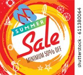summer sale banner design... | Shutterstock .eps vector #611380064
