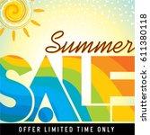 summer sale banner design... | Shutterstock .eps vector #611380118