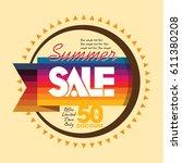 summer sale banner design... | Shutterstock .eps vector #611380208