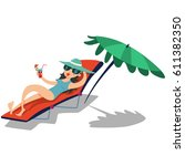 summer vacation. girl with... | Shutterstock .eps vector #611382350