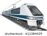 modern city electric train. 3d... | Shutterstock . vector #611384429