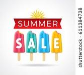 summer sale banner design... | Shutterstock .eps vector #611384738