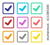check mark icon colorful set... | Shutterstock .eps vector #611385200