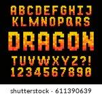 pixel red font video computer... | Shutterstock .eps vector #611390639