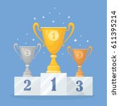 gold  silver  bronze trophy cup ... | Shutterstock .eps vector #611395214
