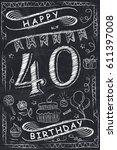 anniversary happy birthday card ... | Shutterstock .eps vector #611397008