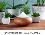 aroma oil diffuser and plants... | Shutterstock . vector #611402969