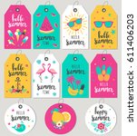 set hello summer. gift tags and ... | Shutterstock .eps vector #611406203