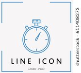 line icon  stopwatch   Shutterstock .eps vector #611408273