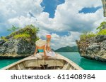 young woman traveler on... | Shutterstock . vector #611408984