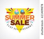 summer sale banner design... | Shutterstock .eps vector #611409878