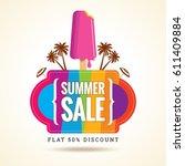 summer sale banner design... | Shutterstock .eps vector #611409884