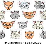vector seamless pattern with... | Shutterstock .eps vector #611410298