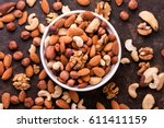 Mixed Nuts On Dark Background. ...
