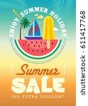 summer sale banner design... | Shutterstock .eps vector #611417768