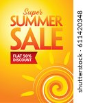 summer sale banner design... | Shutterstock .eps vector #611420348