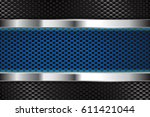 metal background with blue... | Shutterstock . vector #611421044