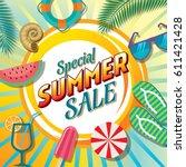 summer sale banner design...   Shutterstock .eps vector #611421428
