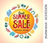 summer sale banner design... | Shutterstock .eps vector #611421656