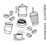 vintage sketchy coffee theme... | Shutterstock .eps vector #611423804